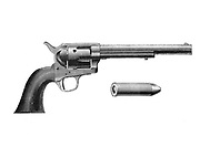 Colt 'Frontier' revolver. Also known as the Colt 'Peacemaker'.  After Mexican War of 1846-1848, was adopted by the US Army. Engraving, c 1890.