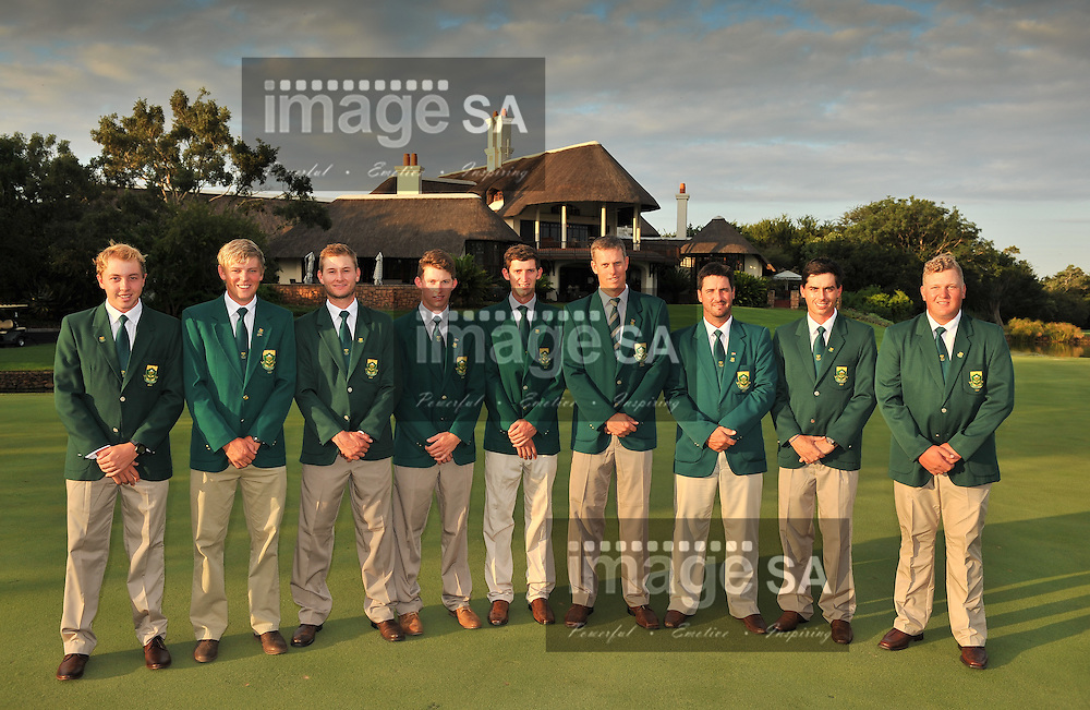 MALELANE, SOUTH AFRICA - Tuesday 17 February 2015, Team Scotland during the official flag raising ceremony of the annual Leopard Trophy, a two day test between teams of the South African Golf Association and the Scottish Golf Union, at the Leopard Creek Golf Estate.<br /> Photo Roger Sedres/ Image SA