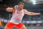 Mar 5, 2017; Belgrade, Serbia; Konrad Bukowiecki (POL) wins the shot put in a national record  72-1 (21.97m) during the 34th European Indoor Championships at Kombank Arena. (Jiro Mochizuki/Image of Sport)