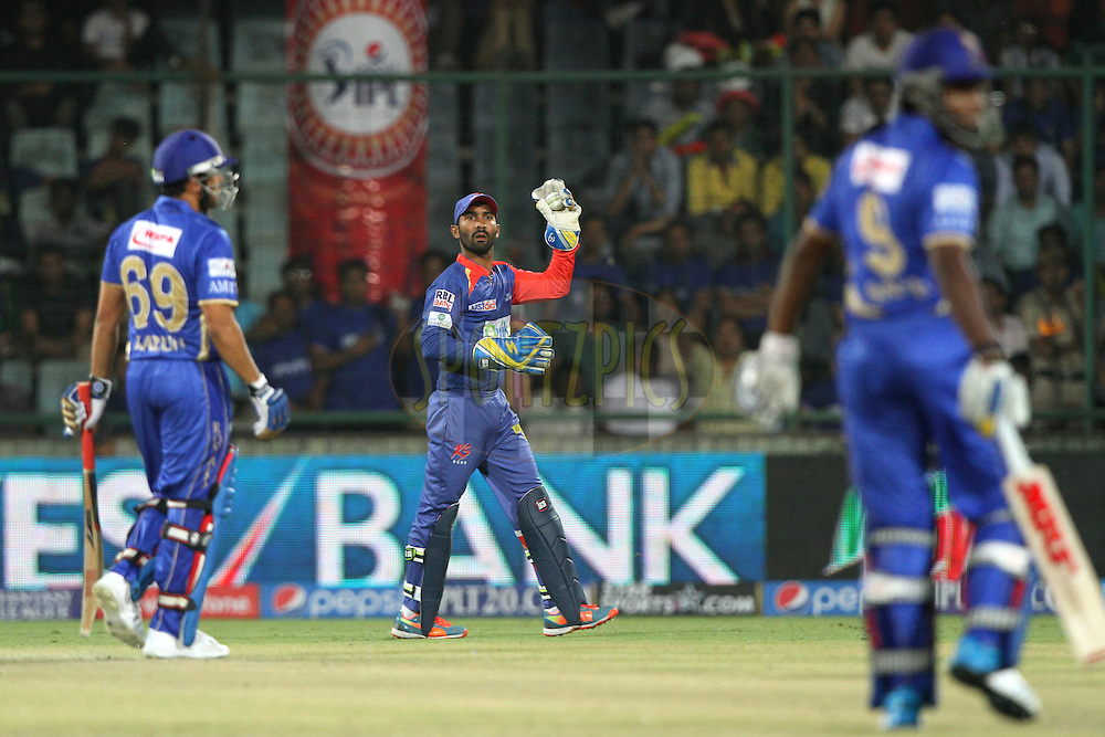 Dinesh Karthik of the Delhi Daredevils during match 23 of the Pepsi Indian Premier League Season 2014 between the Delhi Daredevils and the Rajasthan Royals held at the Feroze Shah Kotla cricket stadium, Delhi, India on the 3rd May  2014<br /> <br /> Photo by Deepak Malik / IPL / SPORTZPICS<br /> <br /> <br /> <br /> Image use subject to terms and conditions which can be found here:  http://sportzpics.photoshelter.com/gallery/Pepsi-IPL-Image-terms-and-conditions/G00004VW1IVJ.gB0/C0000TScjhBM6ikg