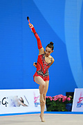 """Alexandrou Christina during clubs routine at the International Tournament of rhythmic gymnastics """"Città di Pesaro"""", 03 April,2016. Alexandrou is an Cypriot individualistic gymnast, born in Nicosia, 27 February.<br /> This tournament dedicated to the youngest athletes is at the same time of the World Cup."""