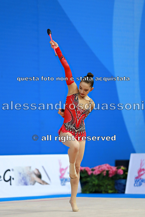 "Alexandrou Christina during clubs routine at the International Tournament of rhythmic gymnastics ""Città di Pesaro"", 03 April,2016. Alexandrou is an Cypriot individualistic gymnast, born in Nicosia, 27 February.<br />