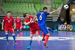 Vitaliy Borisov of Azerbaijan and Kevin Ramirez of France during futsal match between France and Azerbaijan at Day 4 of UEFA Futsal EURO 2018, on February 2, 2018 in Arena Stozice, Ljubljana, Slovenia. Photo by Urban Urbanc / Sportida