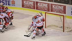 01.01.2016, Stadthalle, Klagenfurt, AUT, EBEL, EC KAC vs HC TWK Innsbruck Die Haie, 38. Runde, im Bild Mario Ebner (HC TWK Innsbruck Die Haie #53), Stefan Geier (EC KAC, #19), Manuel Geier (EC KAC, #21), David Schuller (HC TWK Innsbruck Die Haie #45), Andy Chiodo (HC TWK Innsbruck Die Haie #30), Patrick Harand (EC KAC, 16) // during the Erste Bank Eishockey League 38th round match betweeen EC KAC and HC TWK Innsbruck Die Haie at the City Hall in Klagenfurt, Austria on 2016/01/01. EXPA Pictures © 2016, PhotoCredit: EXPA/ Gert Steinthaler