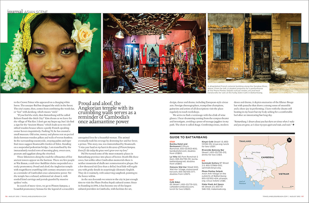 A travel piece on Battambang, Cambodia for T+L SEA.