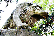 Detail of snarling figure of Tiger in thin composite, Parc Zoologique de Paris, or Zoo de Vincennes, (Zoological Gardens of Paris, also known as Vincennes Zoo), 1934, by Charles Letrosne, 12th arrondissement, Paris, France, pictured on April 25, 2011 in the afternoon. In November 2008 the 15 hectare Zoo, part of the Museum National d'Histoire Naturelle (National Museum of Natural History) closed its doors to the public and renovation works will start in September 2011. The Zoo is scheduled to re-open in April 2014. Picture by Manuel Cohen.