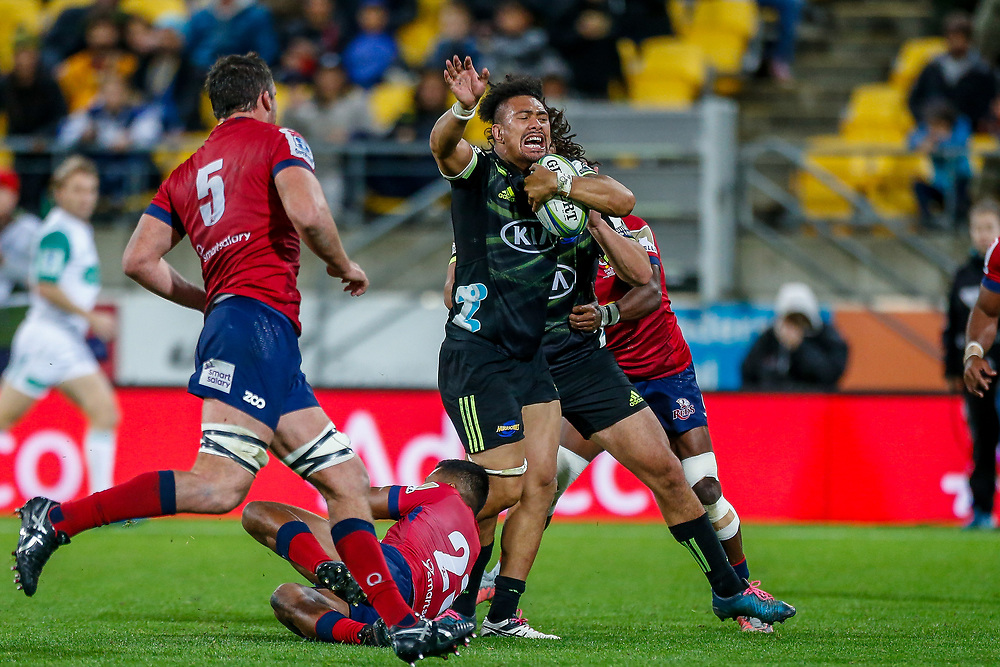 Ardie Savea during the Super rugby union game (Round 14) played between Hurricanes v Reds, on 18 May 2018, at Westpac Stadium, Wellington, New  Zealand.    Hurricanes won 38-34.