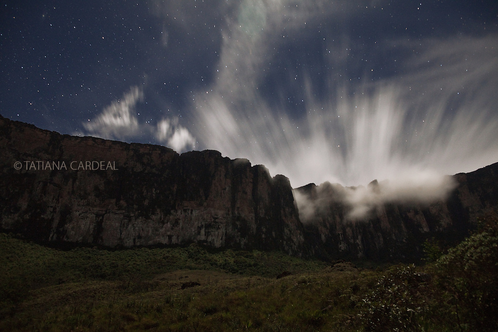 At Roraima Mount base camp, in the second night of the climbing, a vision of the Cueva de los Guacharos at night.