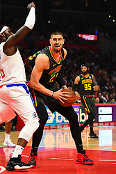 January 29, 2019 - Los Angeles, CA, U.S. - LOS ANGELES, CA - JANUARY 28: Atlanta Hawks Center Alex Len (25) makes a move during a NBA game between the Atlanta Hawks and the Los Angeles Clippers on January 28, 2019 at STAPLES Center in Los Angeles, CA. (Photo by Brian Rothmuller/Icon Sportswire) (Credit Image: © Brian Rothmuller/Icon SMI via ZUMA Press)