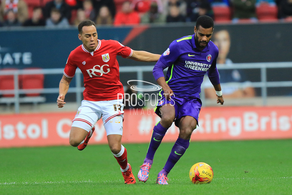 Bristol City midfielder Elliot Bennett and Charlton Athletic forward Ricardo Vaz Te during the Sky Bet Championship match between Bristol City and Charlton Athletic at Ashton Gate, Bristol, England on 26 December 2015. Photo by Jemma Phillips.