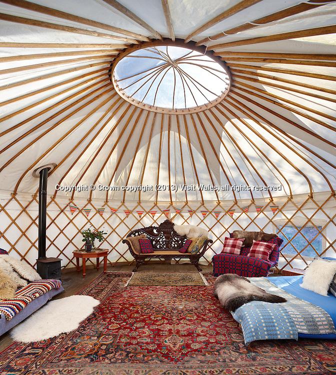 Yurt interior<br /> Graig Wen<br /> Arthog<br /> Gwynedd<br /> Mid<br /> Self Catering<br /> Camping<br /> Accommodation