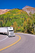 Fall color and truck on the San Juan Skyway (Highway 550), Uncompahgre National Forest, Colorado