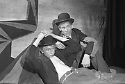 """""""Waiting for Godot"""" by Samual Beckett, presented by the Portora Royal School at the Pocket Theatre, Ely Place, Dublin. Picture shows a scene from the production with W.H. Murtagh (left), who plays 'Gogo' and Keith Aberdein as 'Didi'..23.09.1962"""
