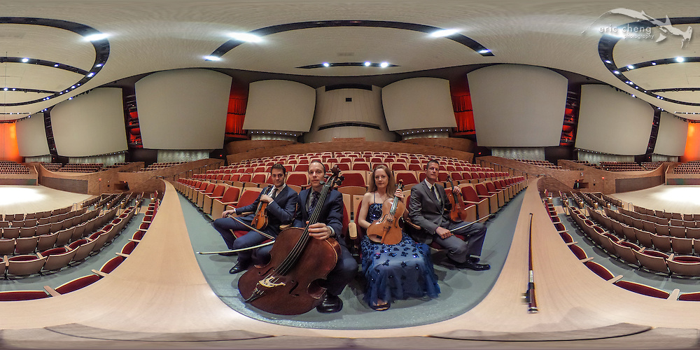 Spherical 360&ordm; panorama of the St. Lawrence String Quartet at Bing Concert Hall on Stanford University campus. November 4, 2015.<br />