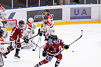 2019-12-01 | Umeå, Sweden:Teg (44) Casper Andersson sets the final goal to 4-3 to Teg in  HockeyEttan during the game  between Teg and Kiruna at A3 Arena ( Photo by: Michael Lundström | Swe Press Photo )<br /> <br /> Keywords: Umeå, Hockey, HockeyEttan, A3 Arena, Teg, Kiruna, mltk19120, happy happiness celebration celebrates