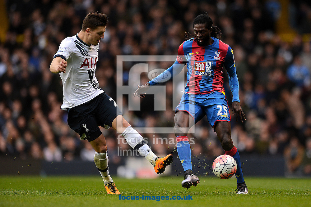 Emmanuel Adebayor of Crystal Palace looks to get past Kevin Wimmer of Tottenham Hotspur during the FA Cup match between Tottenham Hotspur and Crystal Palace at White Hart Lane, London<br /> Picture by Richard Blaxall/Focus Images Ltd +44 7853 364624<br /> 21/02/2016