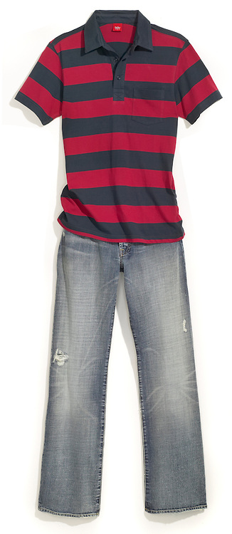 polo shirt striped red and grey and jeans