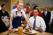 "Misti Weatherford serves Presidential candidate, Mitt Romney, the ""Presidential Special"" during a campaign stop at the IHOP in Natomas, Ca., Thursday Sept. 27, 2007."