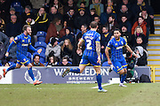 Wimbledon midfielder Andy Barcham celebrates his goal during the Sky Bet League 2 match between AFC Wimbledon and Oxford United at the Cherry Red Records Stadium, Kingston, England on 27 February 2016. Photo by David Charbit.