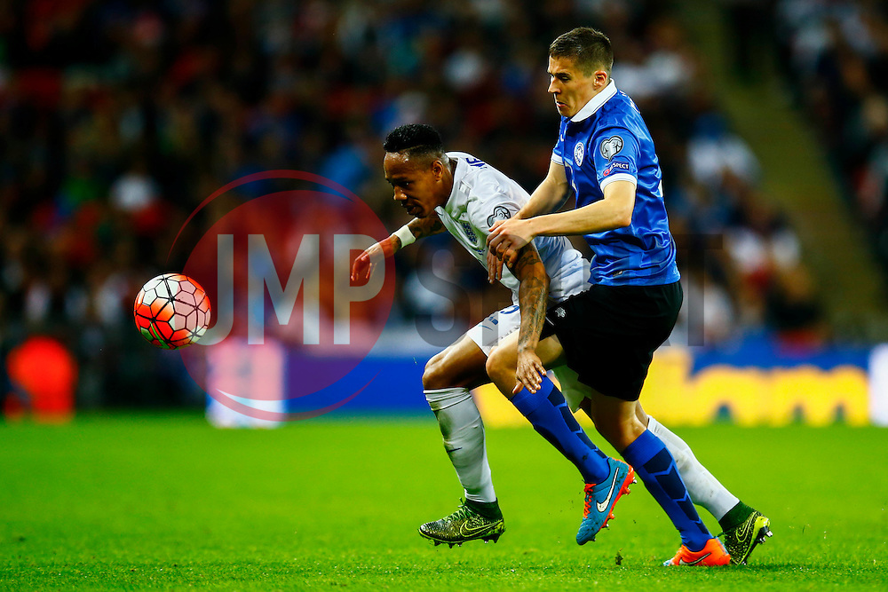 Nathaniel Clyne of England under pressure from Artur Pikk of Estonia - Mandatory byline: Jason Brown/JMP - 07966 386802 - 09/10/2015- FOOTBALL - Wembley Stadium - London, England - England v Estonia - Euro 2016 Qualifying - Group E