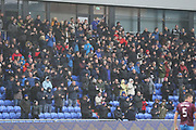 Oldham fans cheer during the EFL Sky Bet League 1 match between Oldham Athletic and Scunthorpe United at Boundary Park, Oldham, England on 28 October 2017. Photo by George Franks.