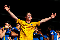 Dean Henderson of Shrewsbury Town celebrates winning the playoff semi-final against Charlton Athletic - Mandatory by-line: Robbie Stephenson/JMP - 13/05/2018 - FOOTBALL - Montgomery Waters Meadow - Shrewsbury, England - Shrewsbury Town v Charlton Athletic - Sky Bet League One Play-Off Semi Final