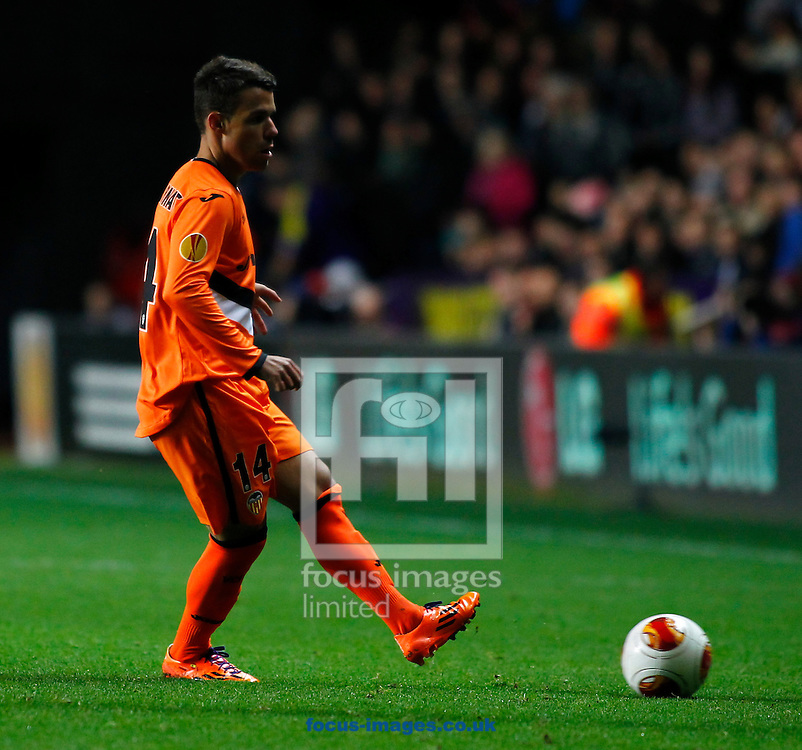 Picture by Mike  Griffiths/Focus Images Ltd +44 7766 223933<br /> 28/11/2013<br /> Juan Bernat of Valencia Club de F&uacute;tbol during the UEFA Europa League match at the Liberty Stadium, Swansea.