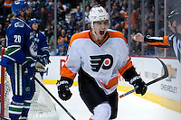 VANCOUVER, CANADA - DECEMBER 30: Brayden Schenn #10 of the Philadelphia Flyers celebrates the tying goal of third period against the Vancouver Canucks on December 30, 2013 at Rogers Arena in Vancouver, British Columbia, Canada.   (Photo by Marissa Baecker/Getty Images)  *** Local Caption *** Brayden Schenn;
