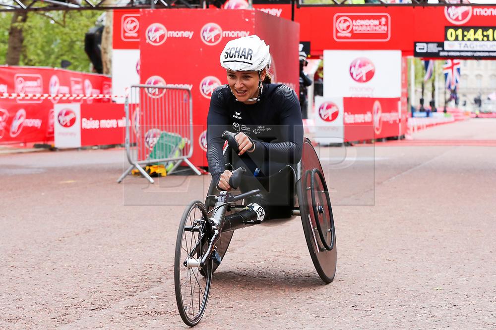 © Licensed to London News Pictures. 28/04/2019. London, UK. Manuela Schar wins the women's wheelchair race at the 2019 Virgin Money London Marathon. Photo credit: Dinendra Haria/LNP