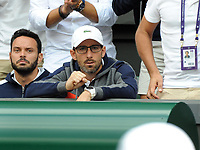 Tennis - 2019 Wimbledon Championships - Week Two, Friday (Day Eleven)<br /> <br /> Men's Singles, Semi-Final: Novak Djokovic (SRB) vs. Roberto Bautista Agut (ESP)<br /> <br /> Roberto Bautista Agut's coach, Tomás Carbonell Pepe Vendrell after winning the second set, on Centre Court.<br /> <br /> COLORSPORT/ANDREW COWIE
