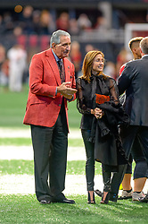 October 21, 2018 - Atlanta, GA, U.S. - ATLANTA, GA - OCTOBER 21: Atlanta United owner Arthur Blank and his wife Angela Macuga celebrating with the team on the field after the MLS game between the Atlanta United and the Chicago Fire on October 21, 2018 at the Mercedes-Benz Stadium in Atlanta, GA. Atlanta United FC secured a place in next year's CONCACAF Champions League with a 2-1 victory against the visiting Chicago Fire. (Photo by John Adams/Icon Sportswire) (Credit Image: © John Adams/Icon SMI via ZUMA Press)