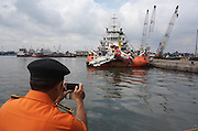 JAKARTA, INDONESIA - MARCH 02: <br /> <br /> The Remains of the Fuselage AirAsia QZ8501<br /> <br /> The remains of the fuselage of Airasia QZ8501 from the Java Sea arrives at Tanjung Priok port on March 02, 2015 in Jakarta, Indonesia. AirAsia QZ8501 crashed into the Java Sea on 28 December, from Surabaya, Indonesia to Singapore.<br /> <br /> AirAsia flight QZ8501 was travelling from the Indonesian city of Surabaya to Singapore when it lost contact with air traffic control on Sunday December 28 2014, almost two hours after take off. Carrying 162 people on board - 155 passengers and seven crew - it disappeared while heading towards bad weather near the Indonesian island of Belitung. One Briton was believed to have been on board.<br /> ©Exclusivepix Media