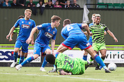 Forest Green Rovers Junior Mondal(25) shoots at goal scores a goal 1-0 during the EFL Sky Bet League 2 match between Forest Green Rovers and Grimsby Town FC at the New Lawn, Forest Green, United Kingdom on 17 August 2019.
