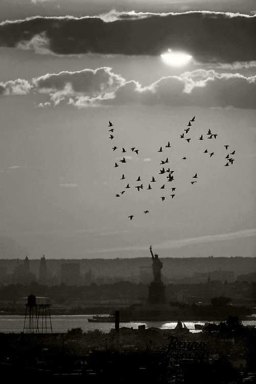 My oldest shot of Lady Liberty. Taken from a Brooklyn roof on 17th Street. Around 1978.