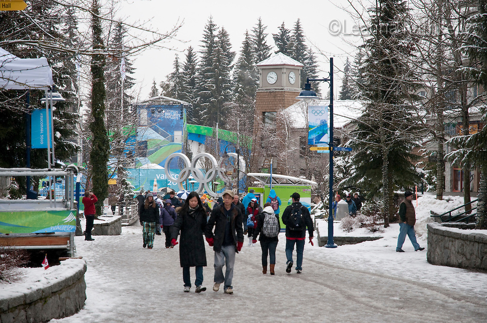 Fresh snow encourages visitors to get up the mountain early, even during the 2010 Olympic Winter Games in Whistler, BC Canada.