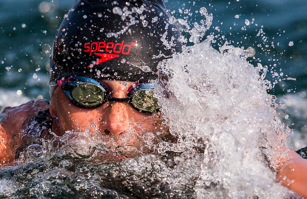 Jade Dusablon races her way to a seventh place finish during the Women's Open Water Swimming at the Pan Am Games in Toronto, Saturday July 11, 2015.    THE CANADIAN PRESS/Mark Blinch