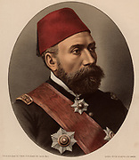 Osman Nuri Pasha (1837?-1900) General of th Ottoman Empire.  Fought in the Crimean War (1854-1856).  Created Field Marshal in the Russo-Turkish War (1877-1878).  From 'The Modern Portrait Gallery' (London, c1880). Tinted lithograph.