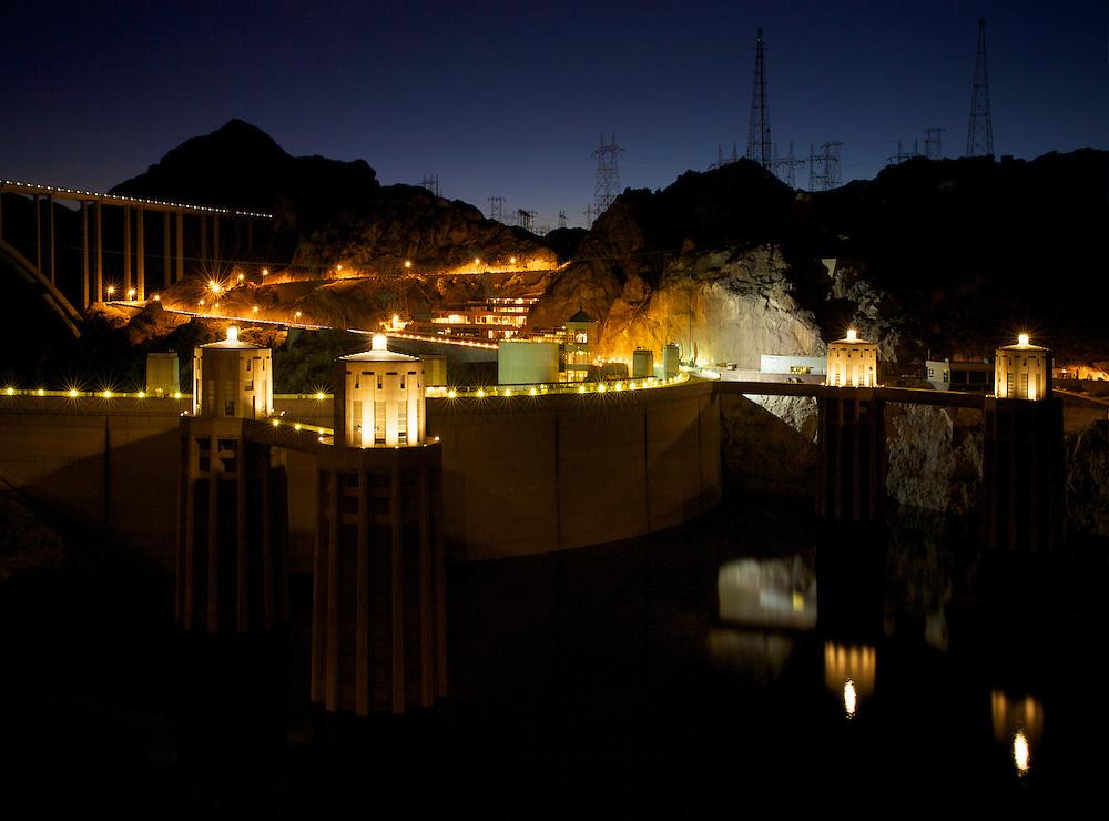 Hoover Dam Intake Towers at Night