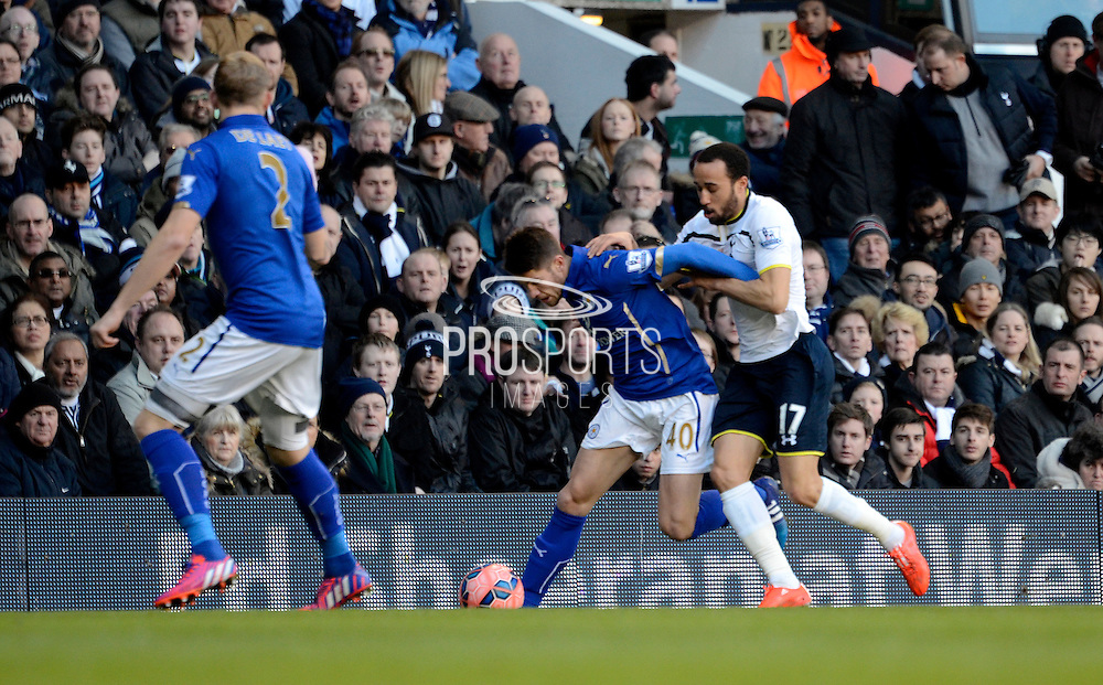 Andros Townsend tackles Andrej Kramaric during the The FA Cup match between Tottenham Hotspur and Leicester City at White Hart Lane, London, England on 24 January 2015. Photo by Alan Franklin.