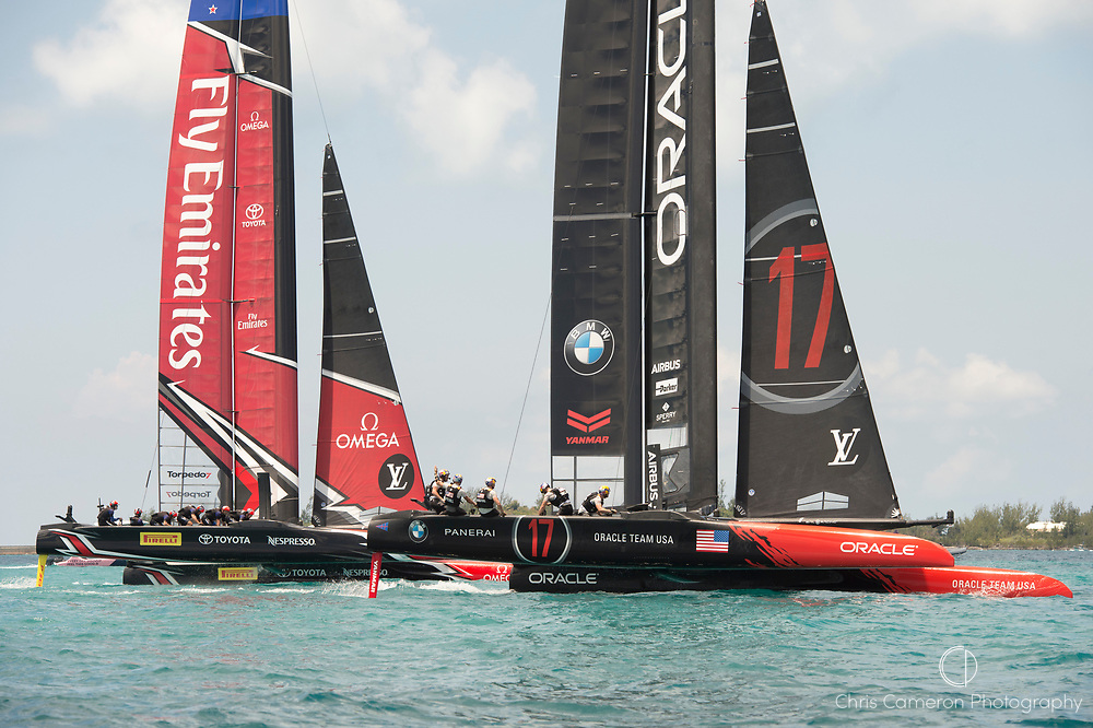 The Great Sound, Bermuda, 17th June Emirates Team New Zealand force a penalty on Oracle Team USA as they go over the start early. Race one on day one of the America's Cup.
