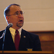 "BATH, Maine -- 12 /16/ 06 -- The Reverend Gregory Vinson of Bath presided over the Funeral for Bath City Councilor and Fireman John C. ""Jack"" Hart Jr. Rev. Vinson is the Chaplain for the Police and Fire Depts. Photo by Roger S. Duncan ."