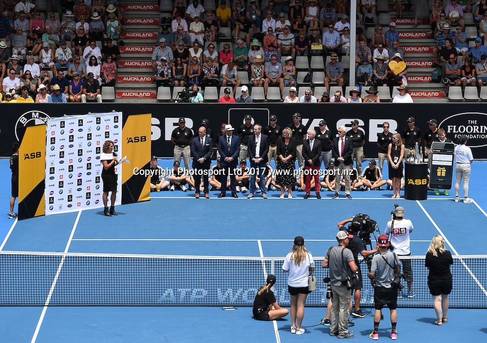 A general view of the presentation during the doubles final at the ASB Classic. ATP Mens Tennis Tournament. ASB Tennis Centre, Auckland, New Zealand. Saturday 14 January 2017. © Copyright photo: Andrew Cornaga / www.photosport.nz