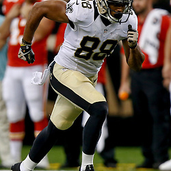 Aug 9, 2013; New Orleans, LA, USA; New Orleans Saints wide receiver Nick Toon (88) against the Kansas City Chiefs during a preseason game at the Mercedes-Benz Superdome. The Saints defeated the Chiefs 17-13. Mandatory Credit: Derick E. Hingle-USA TODAY Sports