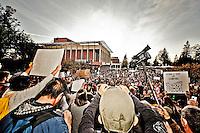 Occupy Berkeley demonstrators convene at Sproul Plaza on CAL Berkeley campus in Berkeley, CA.  Copyright 2011 Reid McNally.