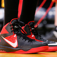 14 January 2014: Close view of Cleveland Cavaliers small forward Luol Deng (9) shoes prior to the Cleveland Cavaliers 120-118 victory over the Los Angeles Lakers at the Staples Center, Los Angeles, California, USA.