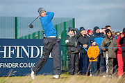 Andrea Pavan hits his drive on the 17th during the final round of the Alfred Dunhill Links Championships 2018 at West Sands, St Andrews, Scotland on 7 October 2018