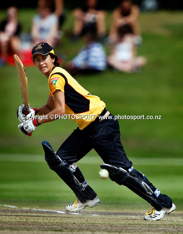 Wellington player Mindy Hodgson during her innings. Canterbury Magicians v Wellington Blaze in the Action Cricket Cup Final. Women's Cricket. QEII Park, Christchurch, New Zealand. Sunday, 30 January 2011. Joseph Johnson / PHOTOSPORT.