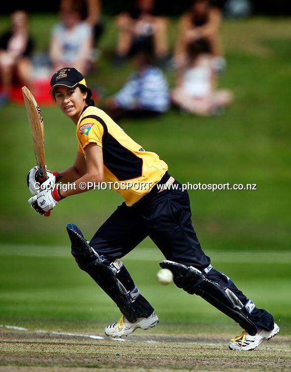 Wellington player Mindy Hodgson during her innings. Canterbury Magicians v Wellington Blaze in the Action Cricket Cup Final. Women's Cricket. QEII Park, Christchurch, New Zealand. Sunday, 30 January 2011. Joseph Johnson / PHOTOSPORT.