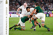 Billy Vunipola of England is tackled by Franco Mostert and Eben Etzebeth of South Africa during the World Cup Japan 2019, Final rugby union match between England and South Africa on November 2, 2019 at International Stadium Yokohama in Yokohama, Japan - Photo Yuya Nagase / Photo Kishimoto / ProSportsImages / DPPI