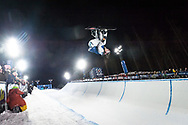Oslo, Norway. 26th February, 2016<br /> <br /> The 2016 Winter X Games arrived in Oslo this year, bringing athletes from all around the world to the Norwegian city. The event focuses on winter sports, such as skiing and snowboarding.<br /> <br /> Pictured competing in the Men's SuperPipe final at Wylland is Pat Burgener, who finished in seventh place.<br /> <br /> Matthew James / Alamy Live News